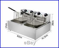 NEW 5 STAR CHEF DEEP FRYER With TWIN BASKET ELECTRIC STAINLESS STEEL RESTAURANT