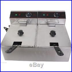 NEW! 5000W 12L Electric Countertop Deep Fryer Dual Tank Commercial Restaurant