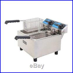 NEW Double Counter Top Fryer Electric UNIWORLD UEF-062 #3871 Commercial Twin Pot