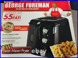 NEW! George Foreman Lean Mean Deep Fryer Smart Spin (Black)
