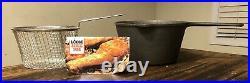 NEW UNUSED Lodge 8 Cast Iron 2 1/2 Quart Deep Fry Fryer Kit with Basket RARE