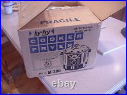 NEW UNUSED Vtg HY-Fry Automatic Electric Slow Cooker Deep Fryer M-200 Glass Lid