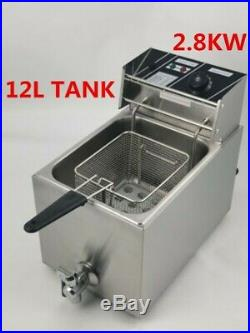 New 12L Commercial Electric Deep Fryer 1-Tank Fryer With Lid & Drain Taps MC28