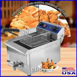 New 1650W 13L Commercial Electric Deep Fryer Restaurant Stainless Steel With Tank