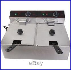New 5000w Electric Countertop Deep Fryer Dual Tank Commercial Restaurant Steel +
