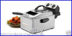 New Cuisinart Deep Fryer Fry Electric Restaurant Basket Liter Kitchen LID Heat