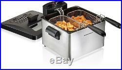 New Hamilton Beach 5qt Quart Dual Deep Fryer TWO BASKETS Temp Control Electric