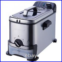 New Professional Quality Brand 1700W 3-Liter Filter Deep Fryer Stainless Steel