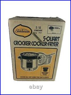 New VTG Sunbeam Crocker Cooker Fryer Olive Green USA Crock Pot Deep Fryer