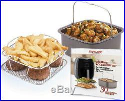 NuWave Brio Digital Air Fryer (10 qt, Black) with 2-piece Cooking Set (3 qt)