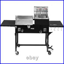 Outdoor Gas Propane Double Burner Station with Flat Top Griddle and Deep Fryer