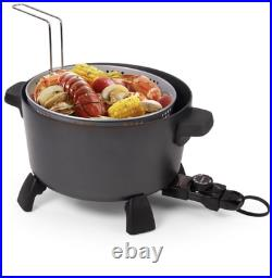 Presto 10 Quart Black Kitchen Kettle Electric Deep Fryer, Steamer Multi Cooker