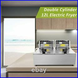 Professional-style Electric Deep Fryer Dual Baskets 3600W 2x6L Stainless Steel