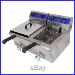 Removable Stainless Steel 20L Dual Tank Electric Deep Fryer Thermostat Function