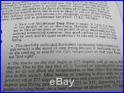 Saladmaster Automatic Electric Deep Fryer 5 Qt Slow Cooker & Recipe Book