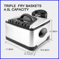 Secura 1700-Watt Stainless-Steel Triple Basket Electric Deep Fryer Timer Free