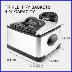 Secura 1700-Watt Stainless-Steel Triple Basket Electric Deep Fryer with Timer