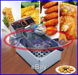 Single Cylinder 220V Electric Deep Fryer Potato Chicken Churros Frying Pan 5.5L