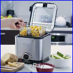 Small Mini Compact Home Electric Deep Fryer Stainless Steel Pot With Basket Lid