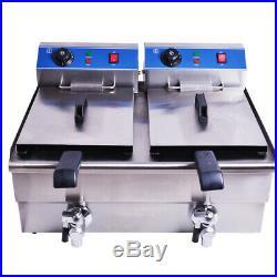 Stainless Steel 20L Commercial Deep Fryer Electric Deep Fat Fryer 2 Tank Basket