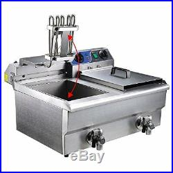 Stainless Steel Commercial Electric 20L Deep Fryer with Timer and Drainage Faucets