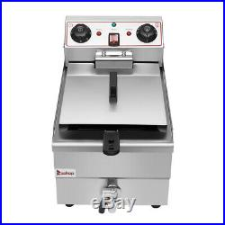 Stainless Steel Electric Deep Fryer with Drain Timers 11.8L Commercial Restaurant