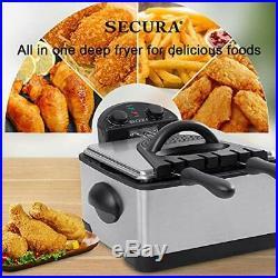 Stainless-Steel Triple Basket Electric Deep Fryer Timer Free Extra Odor Filter