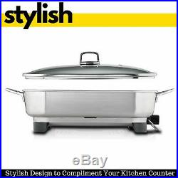Sunbeam Electric Banquet Frypan Deep Fryer Stainless Steel Skillet Pot with Lid