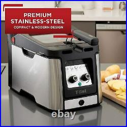 T-fal Odorless Stainless Steel lean Deep Fryer with Filtration System, 3.5-Liter