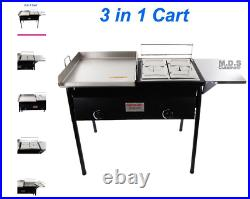 Taco Cart with Griddle 18x16 Stainless Steel Double Deep Fryer 2 Deep Trays 3 in 1