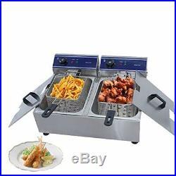 TaiMei Electric Fryer Deep Fryer Stainless Steel Chip Fryer Double Fat Tank 20L