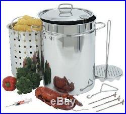 Turkey Deep Fryer Pot Stainless Steel 32 Quart Seafood Steamer Outdoor Fry Kit