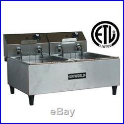 UniWorld Electric Countertop Deep Fryer Dual Basket Stainless Steel UF-2B