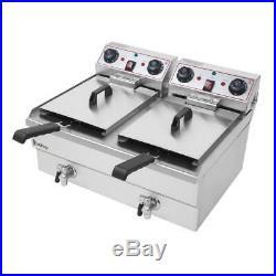 Upgrade 3400W 24L Stainless Steel Electric Deep Fryer Commercial Restauran 2Tank