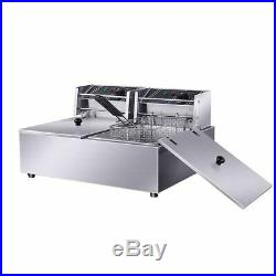 VIC 110V Commercial Electric Deep Fryer with Basket 12L Tabletop Machine for Fry