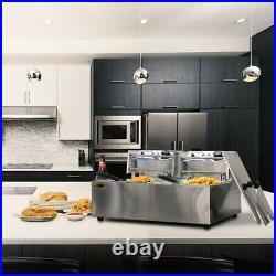 VIVOHOME 17.6QT Electric Deep Fryer Chip Cooker Twin Frying Commercial Basket