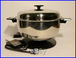 Vintage West Bend Stainless Electric 5 QT Stockpot Dutch Oven Deep Fryer Skillet