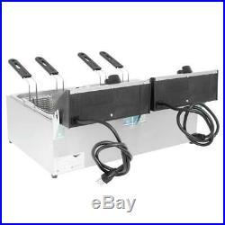 Vollrath 20 lb. Commercial Electric Countertop Deep Fryer Twin Pot 120V, 3600W