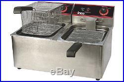 Winco Countertop Commerical Deep Fryer, Twin Well, 32 lbs Oil Capacity EFT-32