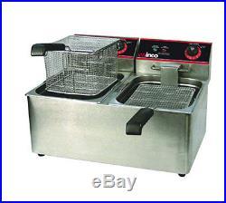 Winco EFT-32 32 lb Electric Countertop Double Well Deep Fryer