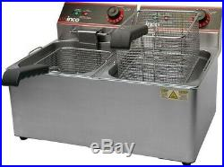 Winco EFT-32 Countertop Electric Twin Well Deep Fryer 32 Lb, 120V
