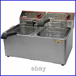 Winco EFT-32 Electric Deep Fryer, 1800W, 120V, 60Hz, Twin Well, 32 lbs. Oil