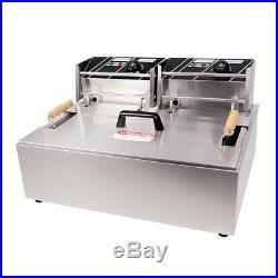 XL 20L Liter Stainless Steel Tank Commercial Countertop Deep Fryer Machine 110v