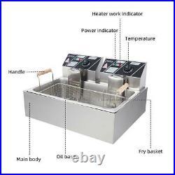ZOKOP 12.7QT Commercial Electric Deep Fryer large Tank Food Frying Machine 5000W
