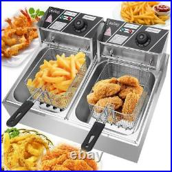 ZOKOP 12L Electric Deep Fryer 2 Tank Fry Basket Commercial Restaurant 12Liter US