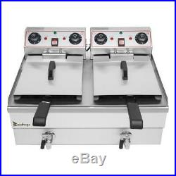 ZOKOP 2 Tank 24.9QT/23.6L Stainless Steel Electric Deep Fryer Commercial Home US