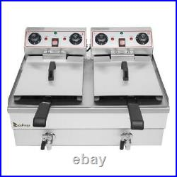 ZOKOP 2 Tank 25QT/23.6L Stainless Steel Electric Deep Fryer Fry Commercial Home
