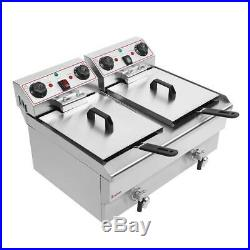 ZOKOP 3000W 25QT Stainless Steel Electric Deep Fryer Commercial Restaurant 23.6L