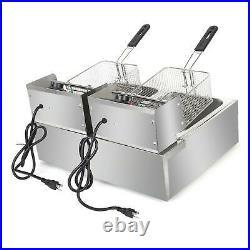 ZOKOP 5000W Electric Countertop Deep Fryer 2 Tank Commercial Restaurant 12L