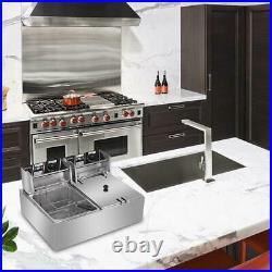 ZOKOP 5000W Electric Countertop Deep Fryer Dual Tank Commercial Restaurant 12L